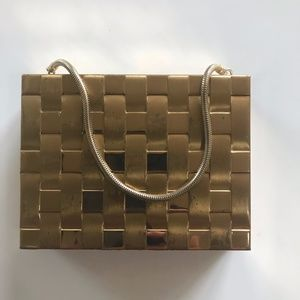 1950's Gold Basket Weave Mini Purse Cigarettes Bag